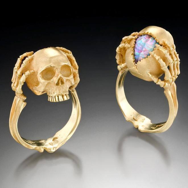 Opal Skull Ring